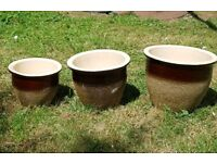 Set of 3 Brown and beige plant pots