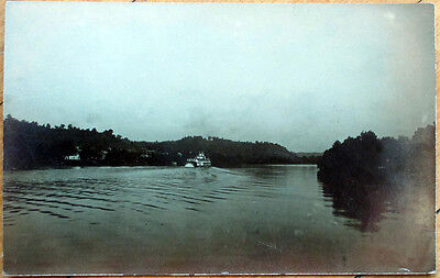 1910 McConnelsville, Ohio Realphoto Postcard: Muskingum River Riverboat - OH