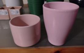 Flower pots (baby pink ceramic)