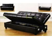 **7-DAY MONEY BACK GUARANTEE!** Premium Valentino Leather Sofabed with Storage - SAME DAY DELIVERY!