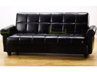 **7-DAY MONEY BACK GUARANTEE!** Valentino Quality Leather Sofabed with Storage - SAME DAY DELIVERY!