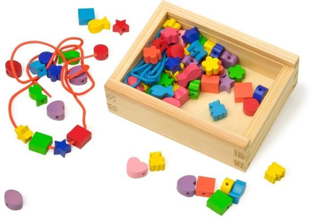 Wooden Box of Beads Creative Threading Wooden Shapes Kids Fun Toy Beads
