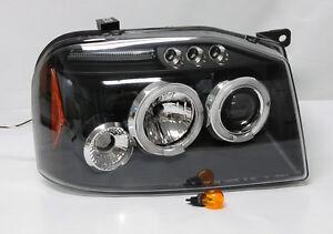 Black Projector Halo LED Headlights FITS Nissan Frontier & Navara D22 01-04