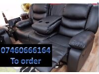 3 and 2 seater leather recliner sofa 134
