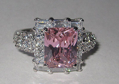 10 Square Pink Czs Ring (ring square cut cubic zirconia celebrity pink white gold 5 6 7 8 9 10 NWT fine )