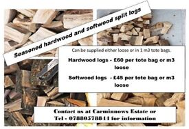 Seasoned hardwood and softwood split logs