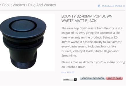 Wanted: Pop down waste matt black BNIB