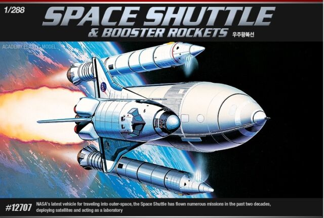 Academy 1/288 Plastic Model Kit Space Shuttle & Booster Rockets 12707A Snap Kit