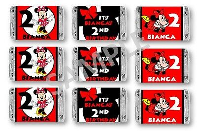 Minnie Mouse Red Mini Candy Bar Wrappers - Birthday Favors - Set of 84 (Mini Mouse Birthday)