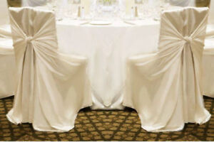 Universal Satin Chair Covers - Ivory