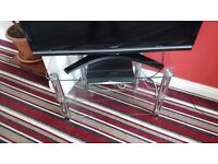 Glass and chrome 3 shelf TV stand
