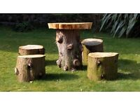 Garden Furniture made of Tree trunks - table and stool set