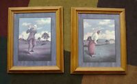 GOLF old style prints in wood frame