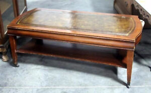 coffee table antique mahogony and leather top London Ontario image 1