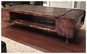 One of a kind,handcrafted with barnwood/beams coffee tables