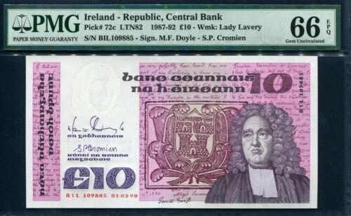Ireland Republic 1987-1992 , 10 Pounds, P72c,PMG 66 EPQ GEM UNC