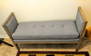 Bench. Brand new from bouclair. Grey with side support.