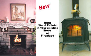 Device Burns Wood Pellets in your s fireplace or stove