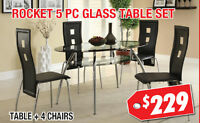 Rocket 5pc Glass Dining Table Set, $229