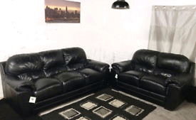 ;;; Real leather Black 3+2 seater sofas