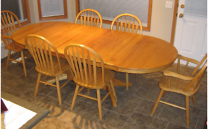 Custom Solid Oak Dining Room Table Set for 6