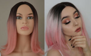 **NEW WITH TAGS: Deluxe Black-Pink Ombre Wig**