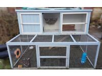 Large Double Rabbit Hutch And Run Guinea Pig Blue