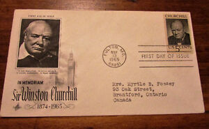 1965 Sir Winston Churchill in Memoriam 5 Cent First Day Cover Kitchener / Waterloo Kitchener Area image 2
