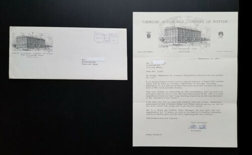 1962 Cadillac Letterhead Invitation and Envelope Boston Rare