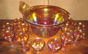 Amber Carnival Glass Punch Bowl W/ 12 Cups & Ladle