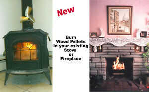 Device burns Wood Pellets in your fireplace or stove