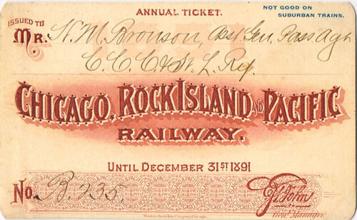 1891 CHICAGO, ROCK ISLAND & PACIFIC RAILROAD PASS - H. M. BRONSON - BEAUTIFUL!