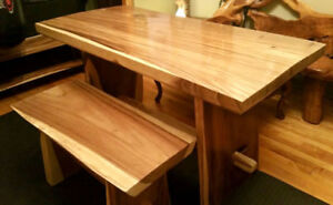 Suar-Wood Dinning Table with Bench/Coffee Table