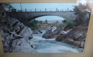 """Hugh Cummings """"Sauble River And Bridge"""" 1900's Hand Colored Phot Stratford Kitchener Area image 2"""