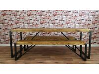 Industrial Reclaimed Wood Steel Metal Kitchen Dining Table Benches Available