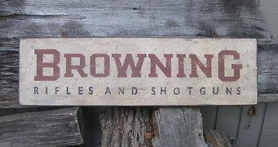 PRIMITIVE VINTAGE BROWNING RIFLES & SHOTGUNS REPLICA TRADE SIGN