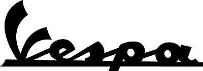 "#3276 (2) 6"" Vespa Script Logo Decal Sticker Vinyl Gloss Black"