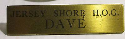 NEW JERSEY H.O.G. LAPEL PIN VINTAGE COLLECTABLE HARLEY DAVIDSON DAVID NAMETAG