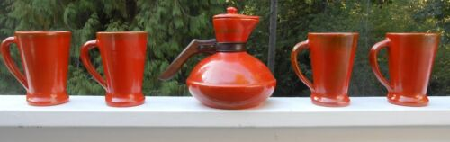 Catalina Island Pottery Squat Coffee Carafe Toyon Red with 4 Large Handled Mugs