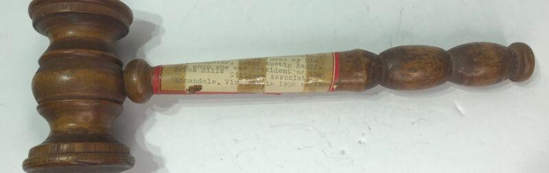1923 Turned Wood Hardwood Gavel from Washington D.C. Parkview Citizens Assoc.