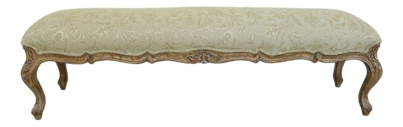32507EC: French Louis XV Style Carved & Upholstered Window Bench
