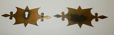 Vintage Ornate Brass writing Slope Escutcheon & Cartouche Set