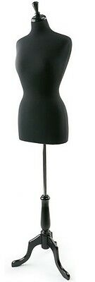 Female Black Jersey Dress Form Size 6-8 With Black Base New In Box Free Shipping