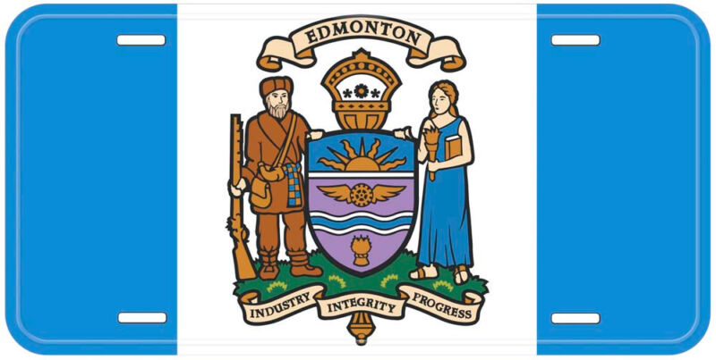 Edmonton City Flag Alberta Canada Aluminum Novelty Car License Plate