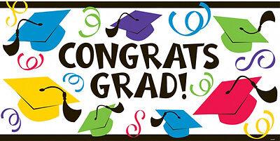 Groß Farbe Graduation Party Banner Dekoration Congrats Grad Kostenloser Versand