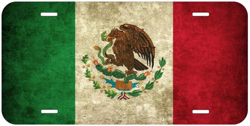 Mexico Grunge Flag Aluminum Novelty Car Auto License Plate