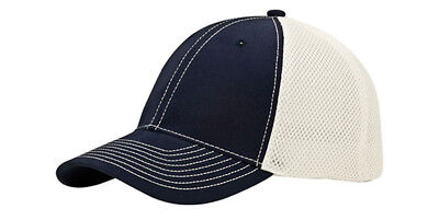 6 Panel (Str) Brushed Cotton Fitted Mesh Back Cap + GT Wristband, Navy White - Panel Brushed Cotton Mesh Cap