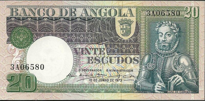 1973 Bank of angola 20 escudos currency note paper money twenty vinte