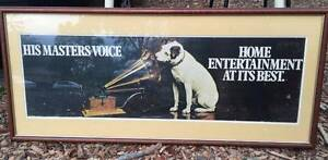 Antique Framed & Mounted Advertising Poster His Master's Voice West Pymble Ku-ring-gai Area Preview