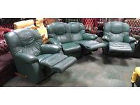 La-Z-Boy green leather 3pc RECLINER sofa set WE DELIVER UK WIDE